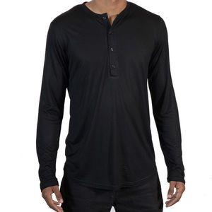 Street Knitted Shirts - Men's Black Henley Neckline Long Sleeve Shirt